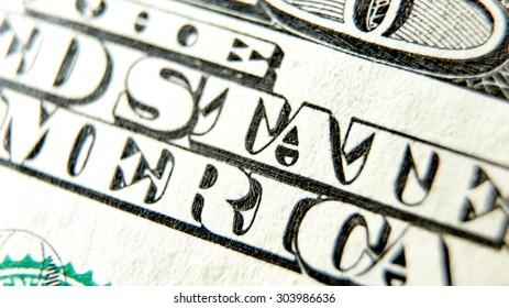 Macro close up of the US 100 dollar bill. Extreme macro. Shallow dof