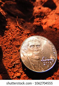 Macro close up of US five cents copper nickel coin in bottom right corner with Thomas Jefferson portrait & liberty 2016 embossed on it, placed on moist red brown soil under twilight sunlight & shadow