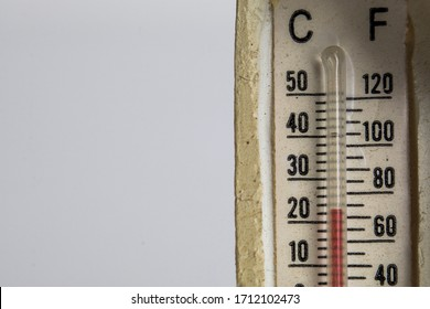 macro or close-up of the air mercury thermometer with celcius and fahrenheit degrees units. hg-mercury in the tube.