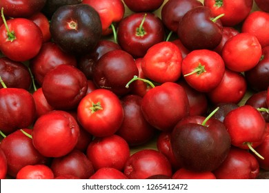 macro, closeup of fresh organic Acerola group. juicy and selected fruits. Antioxidant fruits