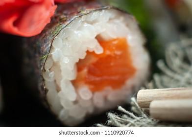 Macro closeup of fresh sushi. Extreme SDF