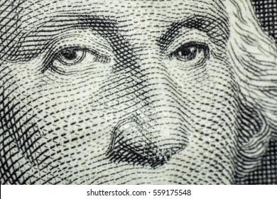 Macro closeup George Washington on one dollar bill
