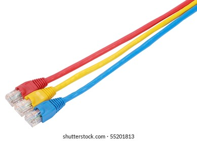 Macro close-up RJ45 network plugs red blue and yellow
