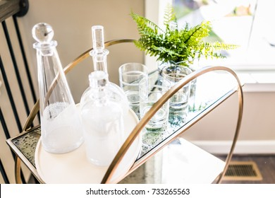 Macro closeup of serving tray stand with empty glasses and plant in staging model house, home or apartment