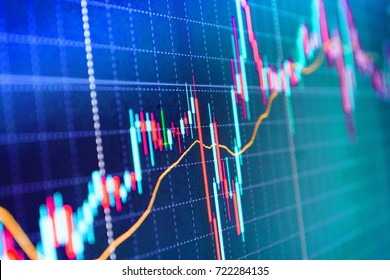 Macro close-up. Shallow DOF. Price chart bars. Tools of technical analysis. Background stock chart. Stock market graph on the screen. Analysing stock market data on a monitor.
