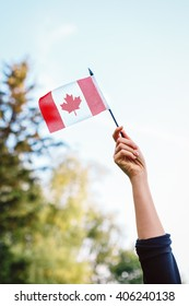 Macro closeup shot of hand arm waving a red white canadian flag with maple leaf on blue sky and green forest nature background outside