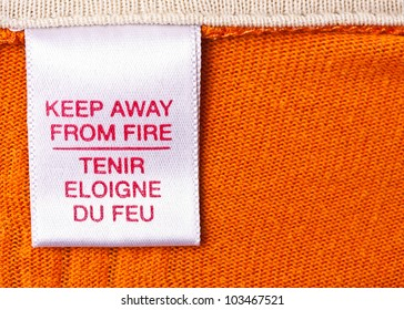 macro of clothing label whit text