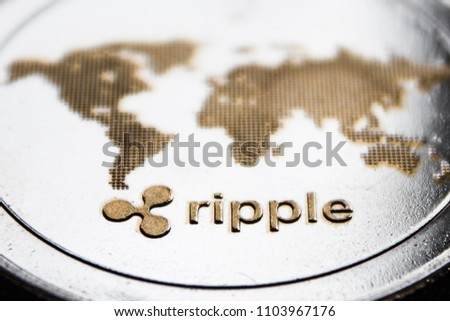the macro coin cryptocurrency  ripple and word map.