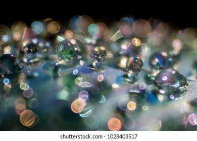 macro color glass bubbles