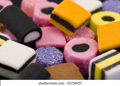 macro of colorful licorice allsorts sweets