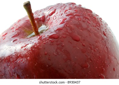 Macro composition of a juicy red apple.