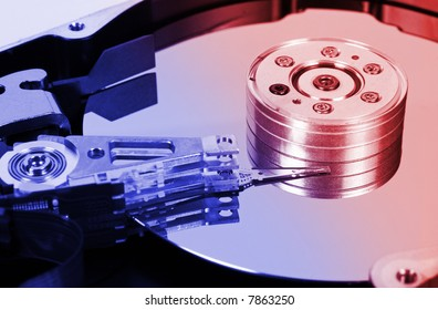 Macro of computer hard disk, technology background