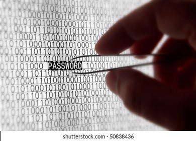 Macro computer screen shot with binary code and password tex, great concept for computer, technology  and online security.