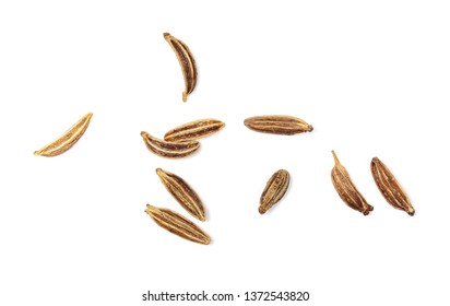 Macro cumin, caraway seeds isolated on white background, top view