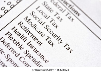 Macro of deductions on a paycheck.