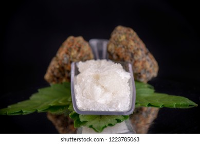 Macro detail of Cannabidiol crystal aka CBD, a pure isolated medical cannabis compound used for its medicinal properties