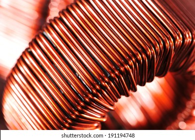 Macro detail of a copper inductor in a transformer