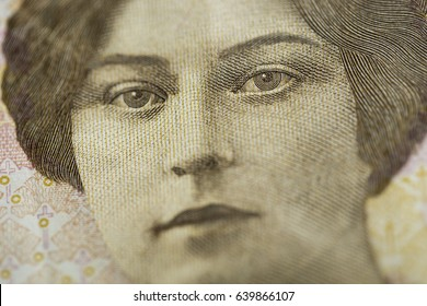 Macro detail of obverse of Norwegian banknote with a denomination of 500 Norwegian kroner. The 500 bill (1999) portrays Sigrid Undset, author and winner of the Nobel Prize in literature in 1927.