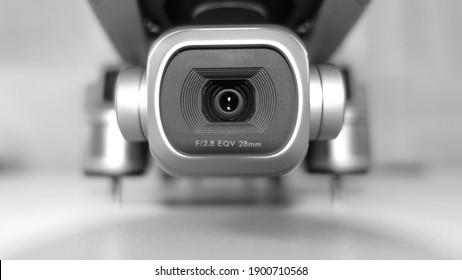 Macro detail photo of latest technology dji mavic 2 pro 1 inch sensor 4K camera stabilised gimbal