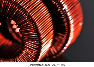 Macro detail of two copper inductors in a transformer