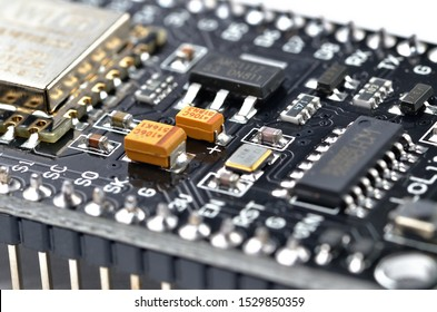 Macro detail of wireless wifi programmable microcontroller module, electronic small computer for internet of things IOT programming