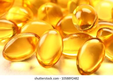 Macro details  of cod live oil pills.capsules.