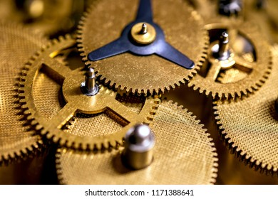 Macro details of gearwheels from a clockwork, precision and accuracy