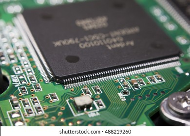 Macro of an electronic circuit board with processor