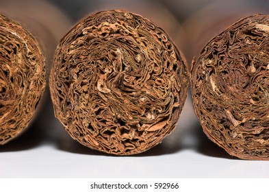 Macro of the ends of three fine cigars
