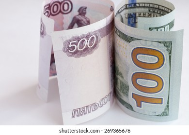The macro european and russian money in the bills