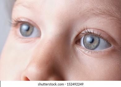 macro eyes of a child