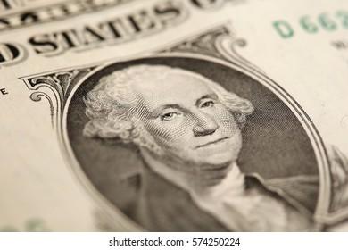macro fragment banknote one US dollar, low depth of field