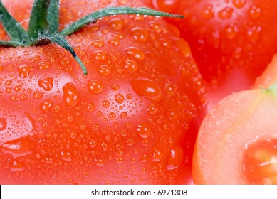 macro of a fresh tomato for backgrounds