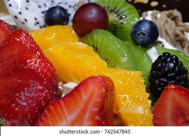 Macro fruit birthday cake