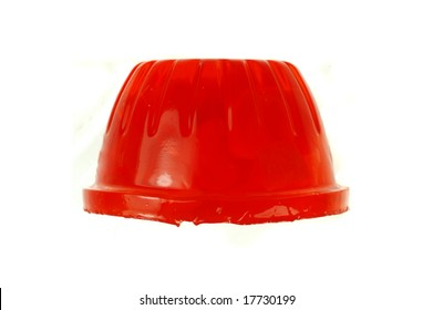 Macro of a gelatin dessert isolated on a white background