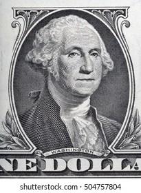 Macro of George Washington face on one dollar bill