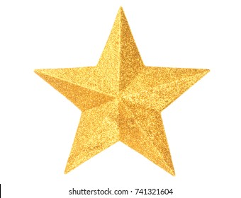 Macro of gold Christmas star isolated on white background - Shutterstock ID 741321604