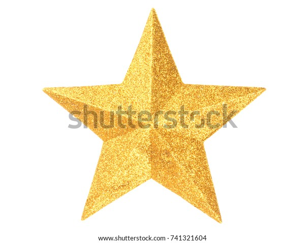 Macro of gold Christmas star isolated on white background