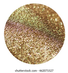 Macro of gold mineral eye shadow texture