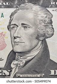 Macro of Hamilton face on ten dollar bill