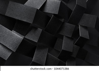 Macro image of black stripes intertwined, three-dimensional effect, abstract background