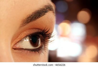 Macro image of a brown eye