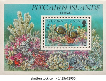 A macro image of a commemorative Pitcairn Islands £3 1994 Corals Stamp and mini sheet.