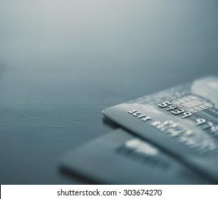 Macro image of credit cards - Split toned