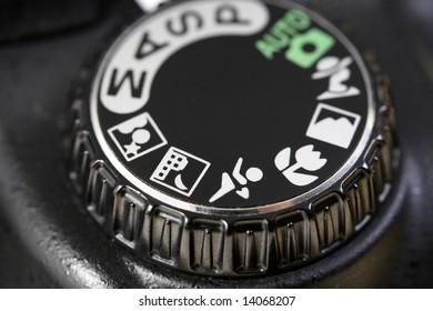 Macro image of a digital camera's controls.