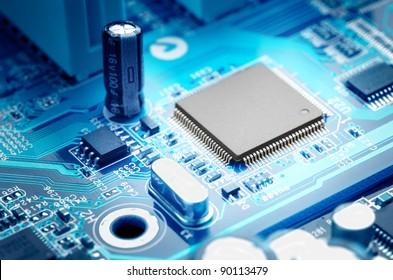 macro image electronic circuit board with processor