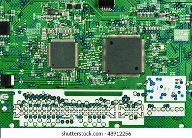 macro image of electronic device circuit board