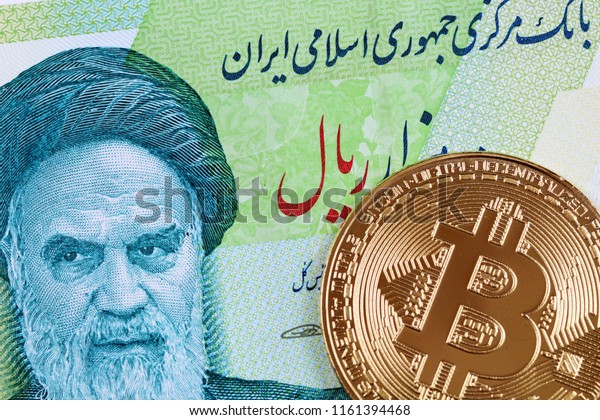 A macro image of a golden bitcoin with a 10000 Iranian rial bill
