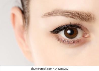Macro image of human eye, Close up view of a brown woman eye