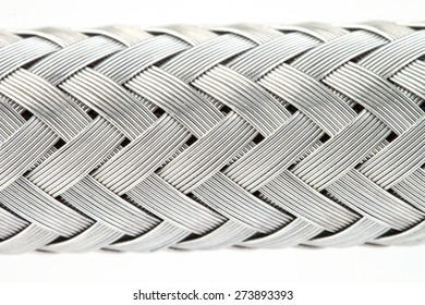 macro image of a metal wire braided reinforced hose